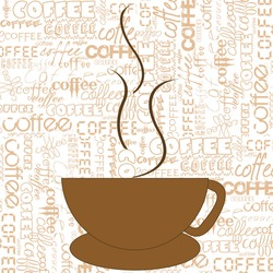 Stylized cup of coffee over a background with terms about coffee