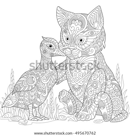 stylized cute friends cat