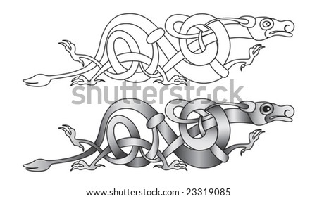 stock vector Stylized decorative celtic dragon knotwork illustration