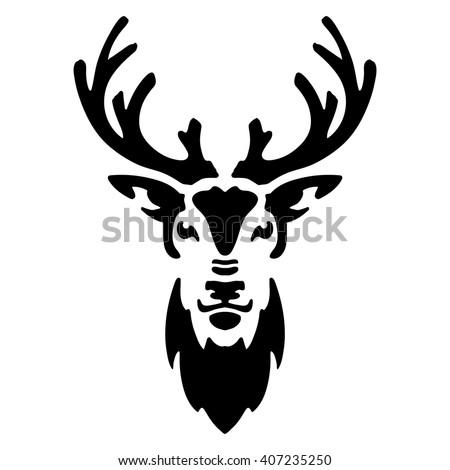 stylized deer head silhouette of deer head for tattoo or