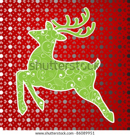 Stylized deer with background pattern