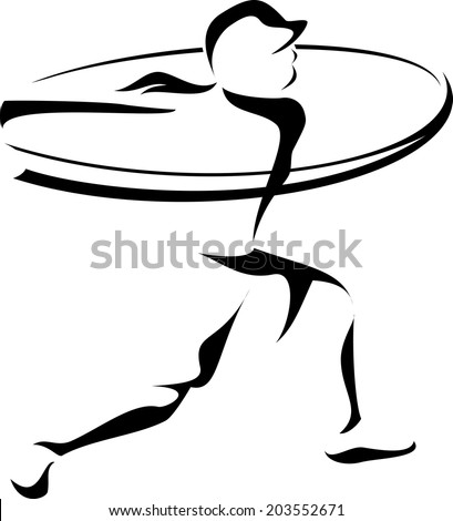 Stylized depiction of a woman softball batter hitting a home run.