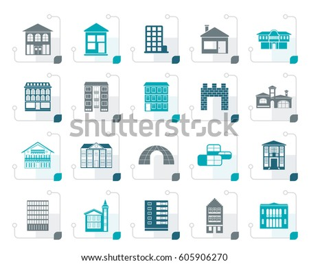 Stylized different kinds of houses and buildings - Vector Illustration
