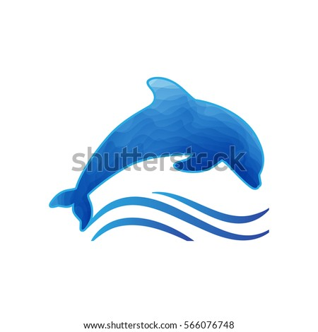 stylized dolphin with waves