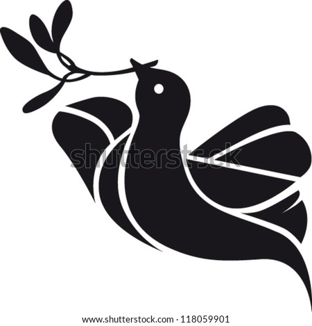 Stylized dove with olive branch in its beak