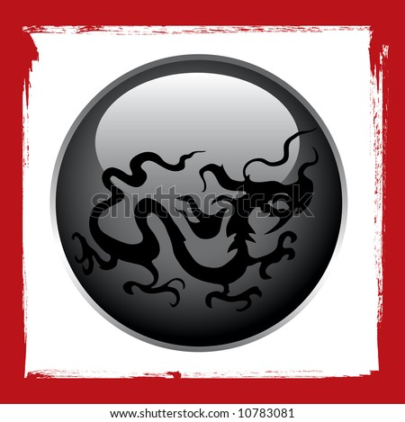 stock vector : stylized dragon tattoo vector design on black ball and grunge