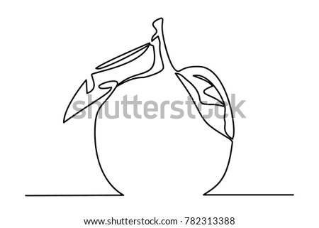 Stylized drawing of orange. Continuous line drawing. Vector illustration