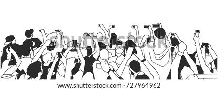 Stylized drawing of party crowd at concert cheering and recording in black and white