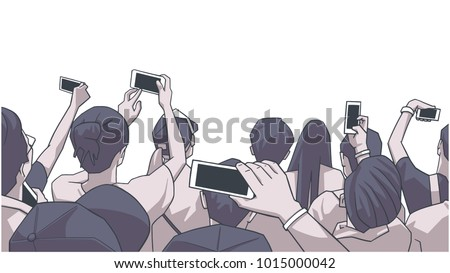 Stylized drawing of party crowd at concert cheering and recording in color