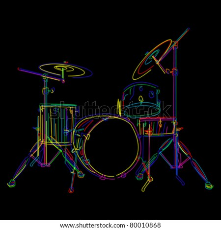 Stylized drum kit graphic over black