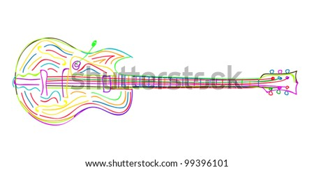 Stylized electric guitar sketch on white background.