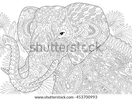 stylized elephant among leaves