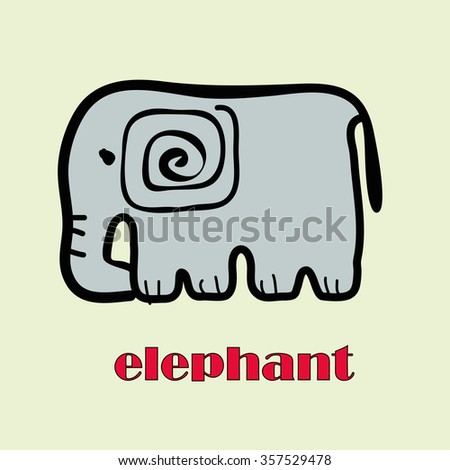stylized elephant from zoo with
