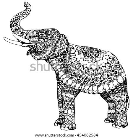Indian Elephant Line Drawing Stylized Elephant. Ind...