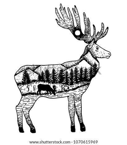 Stylized elk with nature landscape. Vector ink hand drawn illustration isolated on white background. Tattoo art design.