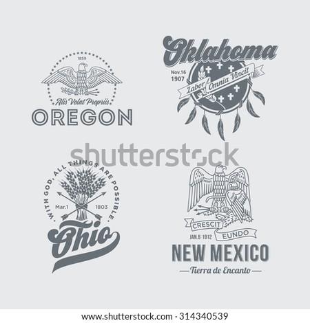 Stylized emblems of the States Oregon, Oklahoma, Ohio, New Mexico, white