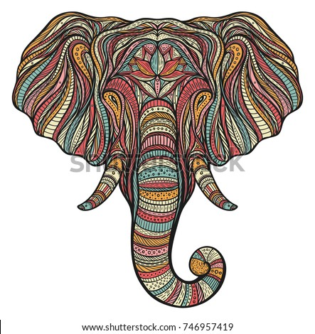 Stylized ethnic boho elephant portrait isolated on white background. Decorative hand drawn doodle vector illustration