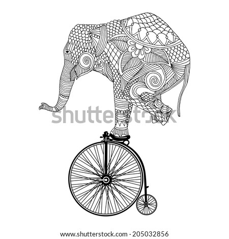Stylized fantasy patterned elephant on vintage bicycle