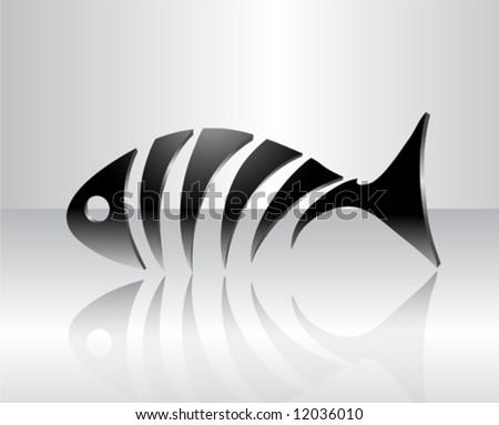 Stylized fish skeleton