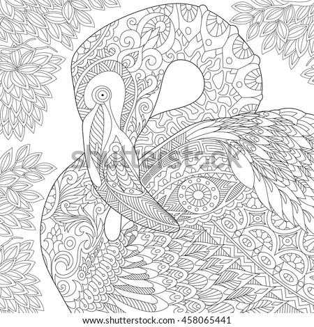 stylized flamingo bird among