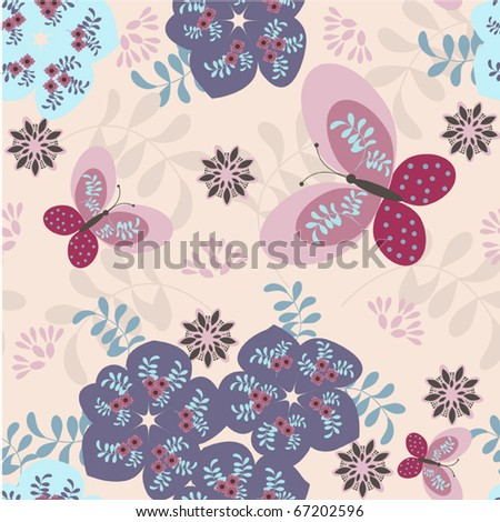 Stylized floral and funny cats seamless vector patterns