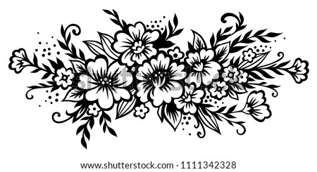Black and white flowers download free vector art stock graphics stylized floral bouquet decorative composition of flowers leaves and twigs black vector mightylinksfo