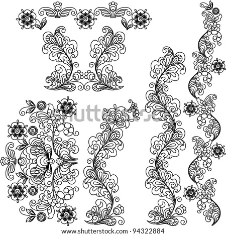 Stylized floral design. A set of borders and the elements.