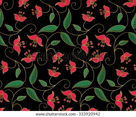 Oriental floral pattern download free vector art stock graphics stylized floral ornament vector seamless pattern with gold contour and pink flowers on black background mightylinksfo