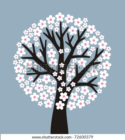 stylized flowering tree on gray-blue background - stock vector