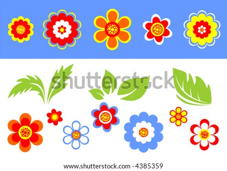 Stylized flowers and leaves on a blue-white background.