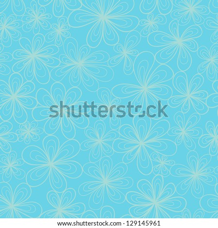 Stylized flowers in cold blue tints. Vector seamless pattern