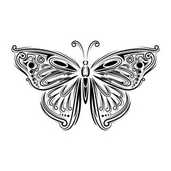 stylized fly butterfly. Creative bohemia concept for wedding invitations, cards, tickets, congratulations, branding, logo, label. Black and white graphic in doodle tangle style for tattoo.