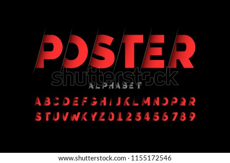 Stylized font design, alphabet letters and numbers vector illustration