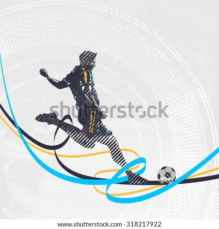 Stylized football player kicks the ball, soccer