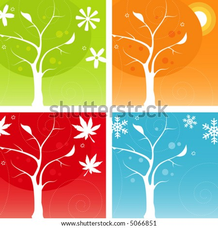 Stylized Four Seasons Icon Set