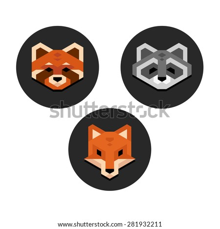 stylized geometric animal heads