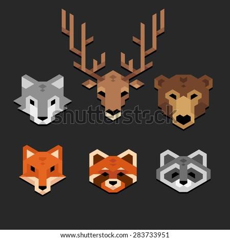 stylized geometric animal heads