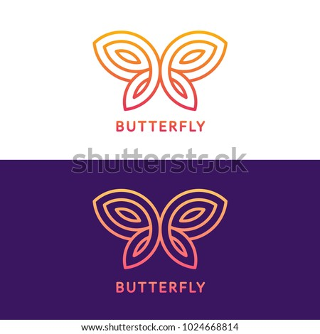 cd572c907 ... Stylized geometric butterfly logo design on white and dark purple  background. Elegant vector illustration.