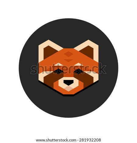 stylized geometric red panda