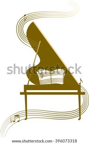stylized grand piano  classic