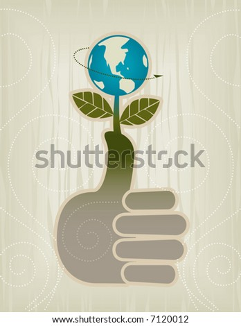 Stylized Green Thumb/Globe/Thumbs Up Concept Icon; Easy-edit layered file.