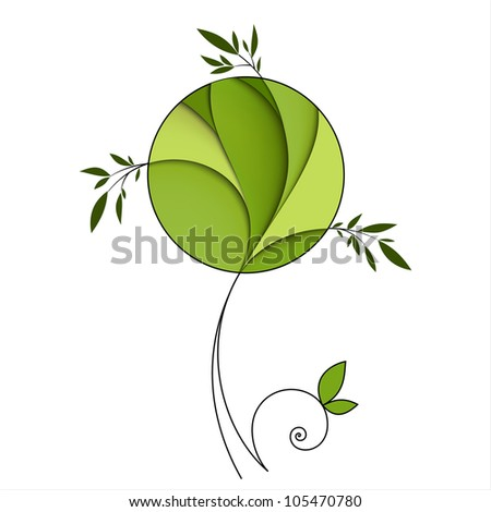 Stylized green tree. Abstract icon