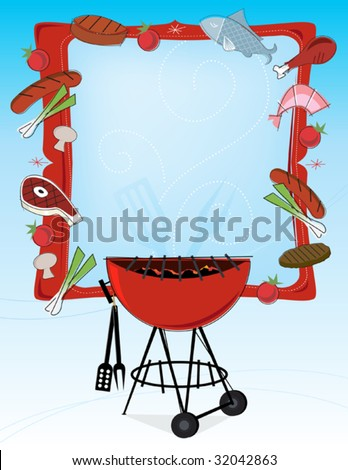 Stylized grilled food icons and bbq grill with frame and copyspace. Layered file for easy edit.