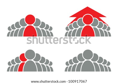 Stylized group of people and arrow. Vector icon.