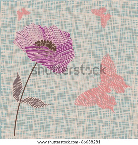Stylized hand made floral vector background