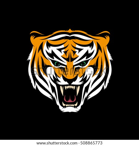 stylized head of snarling tiger
