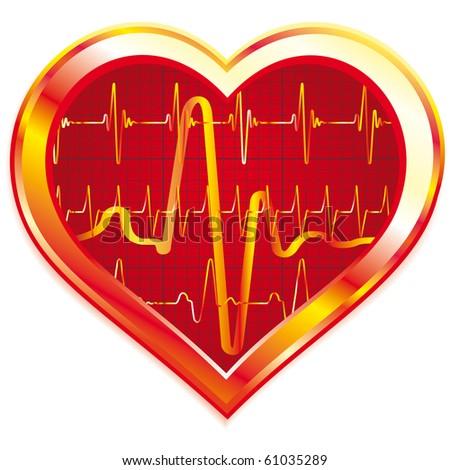 Stylized Heart pulse on white background
