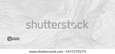 Stylized height of a topographic contour in lines and contours. Concept of a conditional geography scheme and the terrain path. Vector illustration.