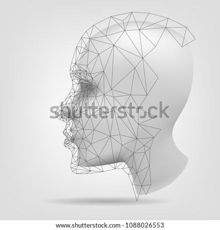 stylized human head  polygonal