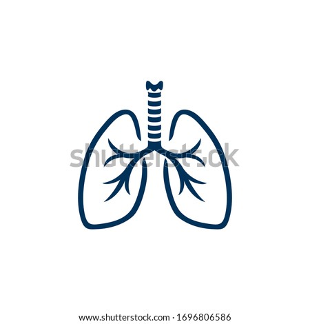 Stylized human lungs. Minimalist design logo of human lungs, icon for your holistic health and fitness business, lung center, clinics and health care concept. Vector illustration.  Foto stock ©